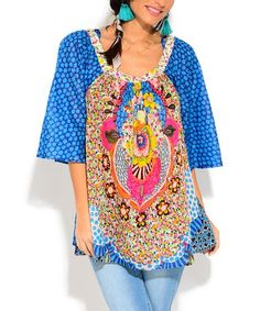 Look what I found on #zulily! Turquoise & Yellow Arabesque Scoop Neck Tunic - Women #zulilyfinds