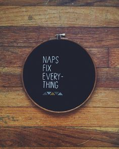 Custom message / needlepoint brown black naps fix everything hoop home decor / tribal geometric shapes modern type / personalized on Etsy, $45.00