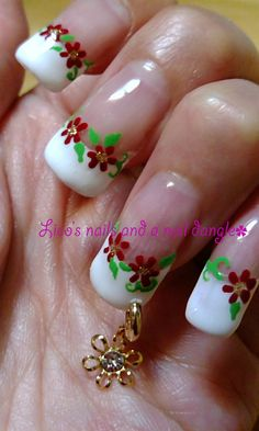 Gel nails - red flowers on french nails plus nail ring (nail dangle)