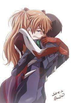 """ikaotaku: """" 「バカガキシンジ…っ!」/「Amelie」のイラスト [pixiv] """" //// shinji~asuka~nge~evangelion"""
