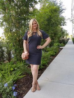 Loft striped bell sleeve dress. Camel saddle bag. Nude wedges. Summer outfit ideas. Fabulouslyoverdressed.com , IG @emily.noel.g