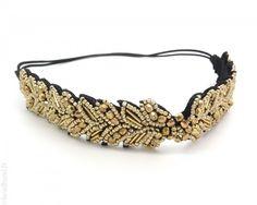 Headband épi perlé doré