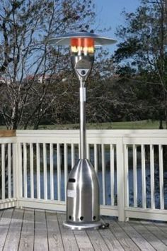 "Stainless Steel Patio Heater by Well Traveled Living. $385.67. Stainless steel burners & heating grid. Ships in one carton. Heat Range: Up to 18 ft. diameter. Safety auto shut off tilt valve. Assembled Dimensions: 20"" Base, 33"" 5 Pc. Hood and 89"" Height. Consumption Rate (Approx)10 hrs - 20 lb LPG tank. 47,000 BTU's. Uses standard 20 lb LPG BBQ tank - NOT INCLUDED. Convenient wheel assembly. Reliable Piezo igniter. Weighted base for stability. Our Stainless Steel Delux..."