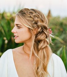 Accents Were All the Rage at this French-Inspired Bohemian Beach Wedding Messy boho side swept French bridal braidMessy boho side swept French bridal braid Half Braided Hairstyles, Bridal Hairstyles With Braids, Bridal Braids, Side Swept Hairstyles, Wedding Braids, Wedding Hair, Wedding Dress, Long Fine Hair, Bridesmaid Hair Half Up