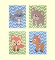 Nursery Art, Kids Wall Art, Woodland Nursery Art Prints, Baby Boy, Fox, Racoon, Deer, Bear, Custom Colors, Set of 4, 8x10 Prints on Etsy, $48.00