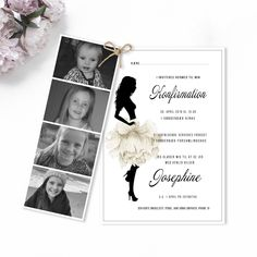 Invitation til konfirmation med feminin pige Perfect Party, Confirmation, Cute Gifts, Creative Business, Birthday Invitations, Sweet, Cards, Wedding, Inspiration