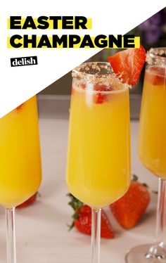 You should have an Easter Champagne in your hand all Sunday morning. Get the recipe at Delish.com. #recipe #easyrecipe #wine #champagne #fruit #orange #juice #pineapple #strawberries #easter #drinks #cocktails
