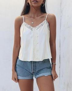 Gigi Top – Cry Baby #Babycryingface Baby Crying Images, Baby Crying Face, Cry Baby, Concert Looks, Night Out Tops, Lace Tank, Lace Detail, White Shorts, Basic Tank Top