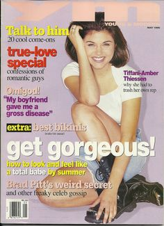 """YM magazine cover girl Tiffani-Amber Thiessen - May, 1995 This was my 1st """"Big girl"""" magazine (This issue exactly)"""