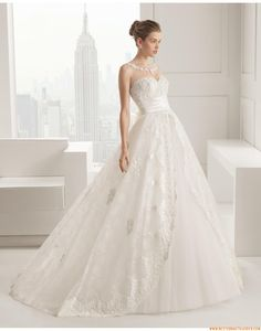 2015 Romantische Traumhafte Brautkleider aus Softnetz mit Applikation