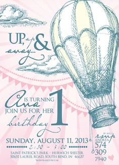 Vintage Hot Air Balloon Party Invitation by LeslieStarDesign, $15.00