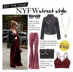 """""""Get the Look: NYFW Street Style Under $300"""" by polyvore-editorial ❤ liked on Polyvore featuring Sans Souci, Miss Selfridge, Hollister Co., Nine West, Ace, Lucky Brand, GetTheLook and NYFW"""