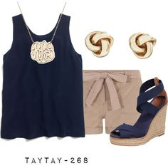 classy summer look, but for Round Two, find some matching flats instead of wedges!