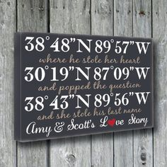 Personalized Wedding SignGPS by doudouswooddesign on Etsy Custom Wood Signs, Wooden Signs, Wooden Boards, 25th Wedding Anniversary, Important Dates, Summer Crafts, Wedding Locations, Wedding Memorial, Personalized Wedding