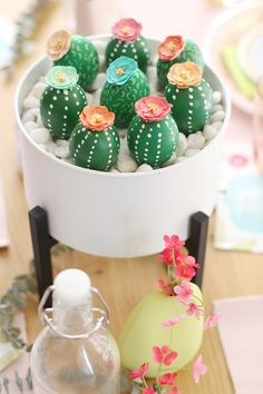 Cactus Easter egg centerpiece | BlissMakes