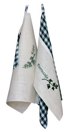 Kitchen towels with emroidered herbs