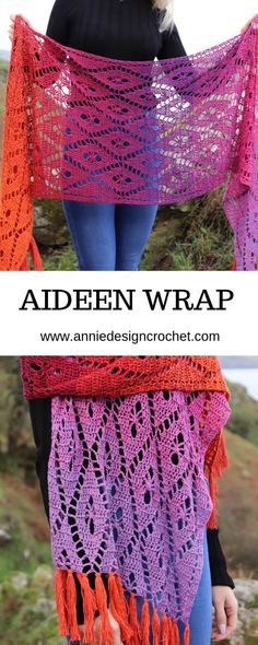 Crochet shawl pattern made in Scheepjes Whirl from Annie Design Crochet. Purchase on Ravelry and Etsy Crochet shawl pattern made in Scheepjes Whirl from Annie Design Crochet. Purchase on Ravelry and Etsy Crochet Lace Scarf, Pull Crochet, Crochet Shawls And Wraps, Knitted Poncho, Crochet Scarves, Crochet Clothes, Knit Crochet, Ravelry Crochet, Crochet Wrap Pattern
