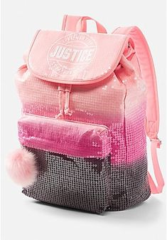 Justice is your one-stop-shop for on-trend styles in tween girls clothing & accessories. Shop our Ombre Sparkle Logo Rucksack. Justice Backpacks, Justice Bags, Justice Stuff, Rucksack Backpack, Backpack Purse, Mini Backpack, Handbags Online, Handbags On Sale, Purses And Handbags