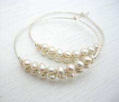 Pearl Woven Silver Hammered Hoop Earrings by SarahHickeyJewellery, $95.00