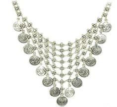 Sunscsc Silver Coins Tassels Choker Chunky Statement Bib Collar Necklace Pendant Chain Bohemian