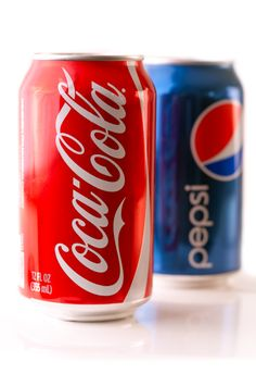 Cans of Coca-Cola and Pepsi Pepsi, Coca Cola, Vanilla Coke, Coke Cans, Beverages, Drinks, Product Photography, Soda, Editorial