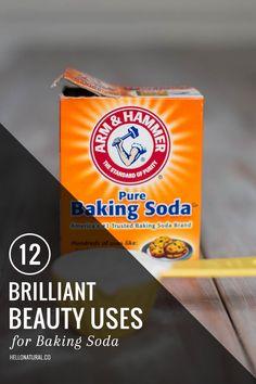 12 Brilliant Beauty Uses for Baking Soda | http://hellonatural.co/12-brilliant-beauty-uses-baking-soda/