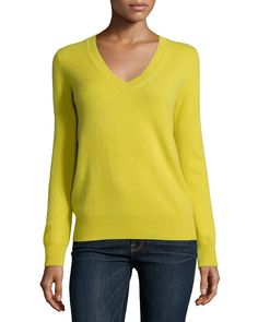 Long-Sleeve Deep V-Neck Cashmere Top, Women's, Size: X-LARGE (12), Green - Neiman Marcus Cashmere Collection