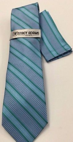 Stacy Adams Tie & Hanky Set Powder Blue, Green & White Men's Hand Made #StacyAdams #Tie
