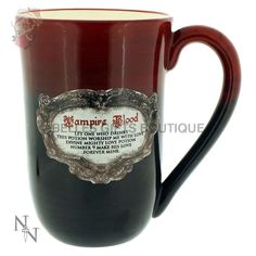 Vampire Blood Mug Extra - Large - This stunning glazed ceramic mug is suitable for holding liquids and is perfect for vampire blood or whatever your poison may be! The writing on this black and red cup reads 'Vampire Blood' – 'Let one who drinks this poti Love Potion Number 9, Angel Outfit, Novelty Mugs, Potion Bottle, Sang, Glass Boxes, Glazed Ceramic, Mug Cup, Drinkware