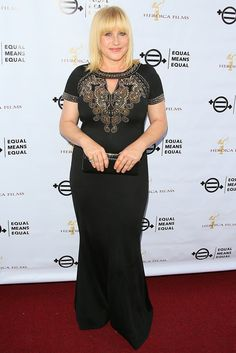 Actress Patricia Arquette wore our Matte Shine Milano Knit Gown from the Fall 2016 collection to the 'Equal Means Equal' screening in Beverly Hills, California.