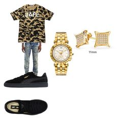 """Elijah"" by eboneewillis on Polyvore featuring Puma, A BATHING APE, Versace, Bling Jewelry, men's fashion and menswear"