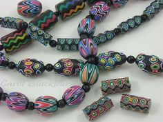 A variety of polymer clay beads made using the ripple blade.