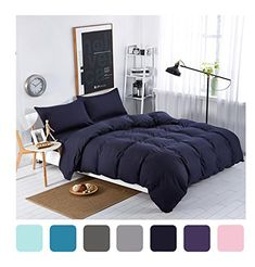 MIFE TEXTILE 4-Piece Navy Blue Duvet Cover Set Solid Color Bedding Microfiber Bedding Sets