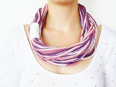 LOVE! SCARF // Infinity Eternity Scarf Noodle Scarves Cotton Fashion Neckwarmer Circle Necklace Chunky Cowl purple pink