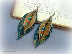 Long leather earrings, teal blue-gold leaf earring, feathers leather earring, boho dangle earring, leather jewelry, bohemian leather earring