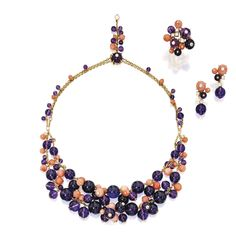 18 Karat Gold, Amethyst, Coral and Diamond 'Delices de Goa' Jewelry, Cartier, France  Comprising a double-strand necklace, ring and a pair of earclips, all set with pink coral and amethyst beads, accented by round diamonds.