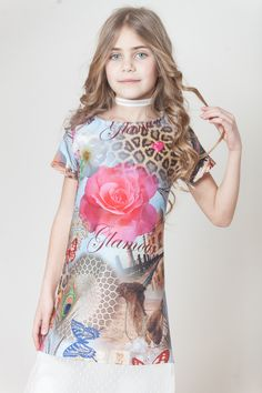 Dress 'SAM' for kids girls with short sleeves Cotton in Jungle pattern daVida's coll.SS16