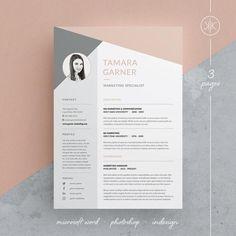 Tamara Resume/CV Template Word Photoshop InDesign Resume Template 3 page Cv Template Word, Indesign Resume Template, Teacher Resume Template, Free Cv Template, Cv Design Template, Letterhead Template, Design Curriculum, Cv Curriculum, Resume Layout