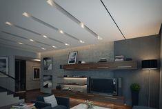 estanterías iluminadas en el salón moderno