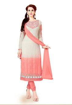 Off White Georgette Churidar Suit 66223