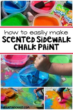 Scented Sidewalk Chalk Paint Recipe for Play: Need a quick outdoor activity that will keep your kiddos entertained and exploring? Then this is for you! This simple recipe only requires three ingredients, will not stain your sidewalk, and is perfect for some simple outdoors fun!