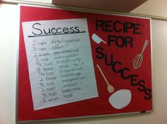 """Another """"Recipe for Success"""" board. Bulletin boards, Resident Advisor, Resident Assistant, ResLife, Residence Life"""