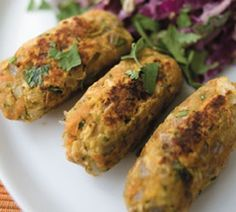 Spicy chickpea koftas with Indian slaw