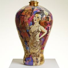 Idealised Heterosexual Couple- ceramic vase by Grayson Perry