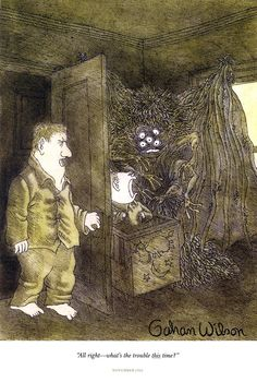 """""""I first saw a Gahan Wilson taped to the inside of my older brother Bill's closet door. It's certainly the first one I remember. And the one I can't forget. Cartoon Pics, Cartoon Characters, Gahan Wilson, Wilson Art, Favorite Cartoon Character, Macabre, Comic Art, Cartoons, Train"""