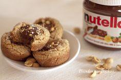 """A """"fudgy"""" peanut butter cookie cup, with turbinado sugar on the outside so there is a little bit of a crunch, which is a wonderful contrast to smooth creamy Nutella middle."""