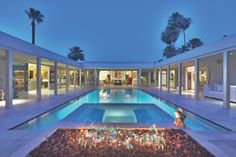 Looking for Modern Outdoor Space and Swimming Pool ideas? Browse Modern Outdoor Space and Swimming Pool images for decor, layout, furniture, and storage inspiration from HGTV. U Shaped House Plans, U Shaped Houses, Pool House Plans, Villa, Outdoor Spaces, Outdoor Living, Slate Patio, Courtyard Pool, Backyard Retreat