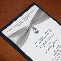 Nautical Wedding Invitation with charm, Navy Seal, United States Navy, anchor, navy blue on Etsy, $5.75