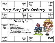 A great way to practice counting by 5s. This math game can be used for math centers/stations/tubs, partner games, or small group practice. Nursery ...