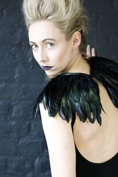 crow costume//don't know about the crow costume.  but the feathers are marvelous!
